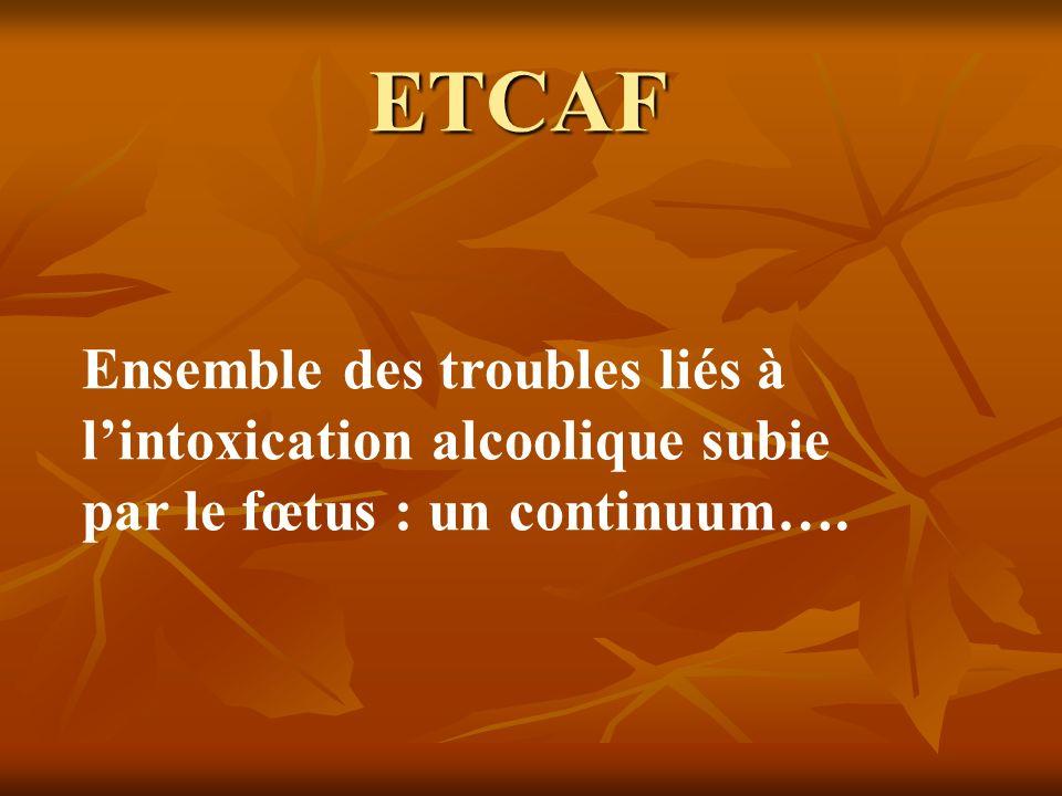 ETCAF Ensemble des troubles liés à lintoxication alcoolique subie par le fœtus : un continuum….