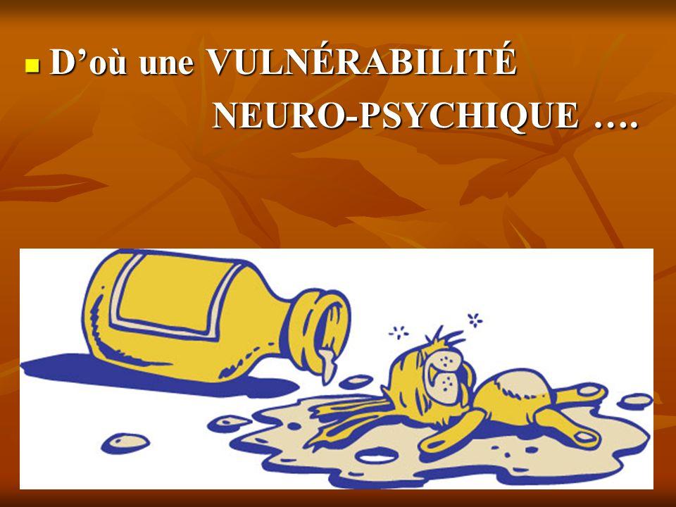 Doù une VULNÉRABILITÉ Doù une VULNÉRABILITÉ NEURO-PSYCHIQUE …. NEURO-PSYCHIQUE ….