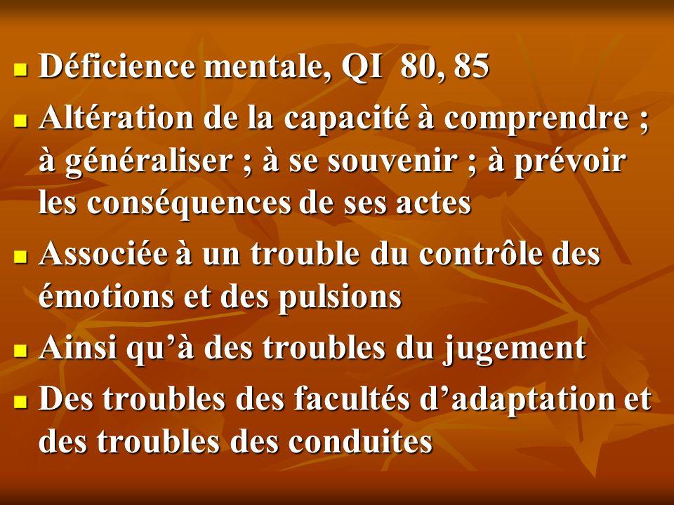 Déficience mentale, QI 80, 85 Déficience mentale, QI 80, 85 Altération de la capacité à comprendre ; à généraliser ; à se souvenir ; à prévoir les con