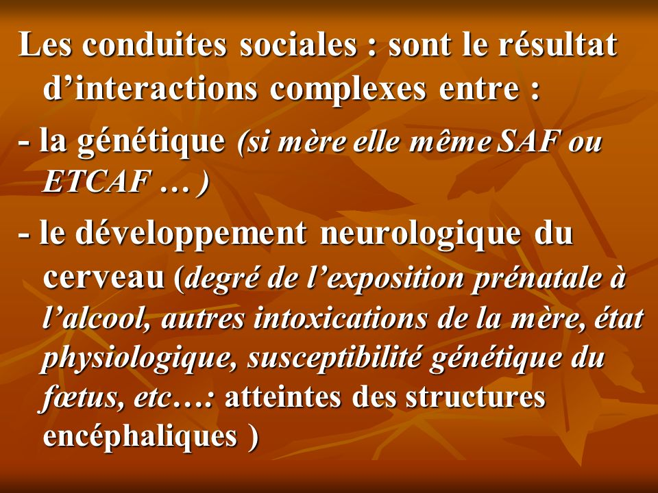 Les conduites sociales : sont le résultat dinteractions complexes entre : - la génétique (si mère elle même SAF ou ETCAF … ) - le développement neurol