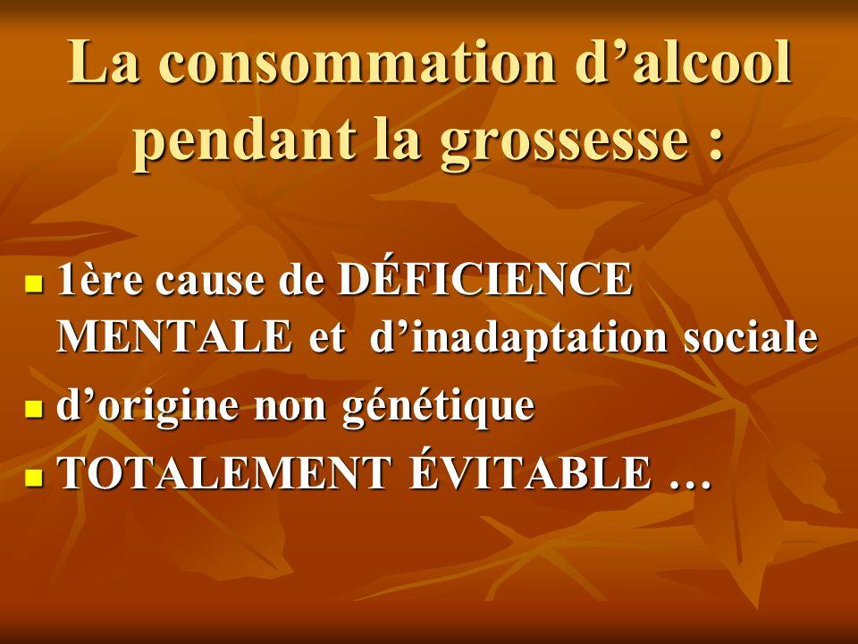 La consommation dalcool pendant la grossesse : 1ère cause de DÉFICIENCE MENTALE et dinadaptation sociale 1ère cause de DÉFICIENCE MENTALE et dinadapta