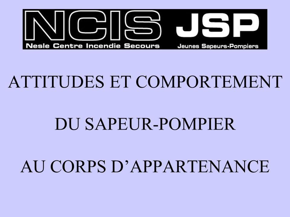 ATTITUDES ET COMPORTEMENT DU SAPEUR-POMPIER AU CORPS DAPPARTENANCE