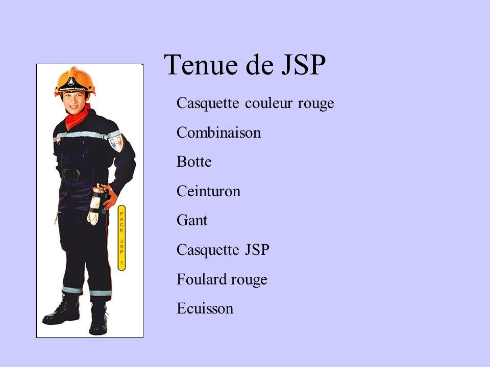 Tenue de JSP Casquette couleur rouge Combinaison Botte Ceinturon Gant Casquette JSP Foulard rouge Ecuisson