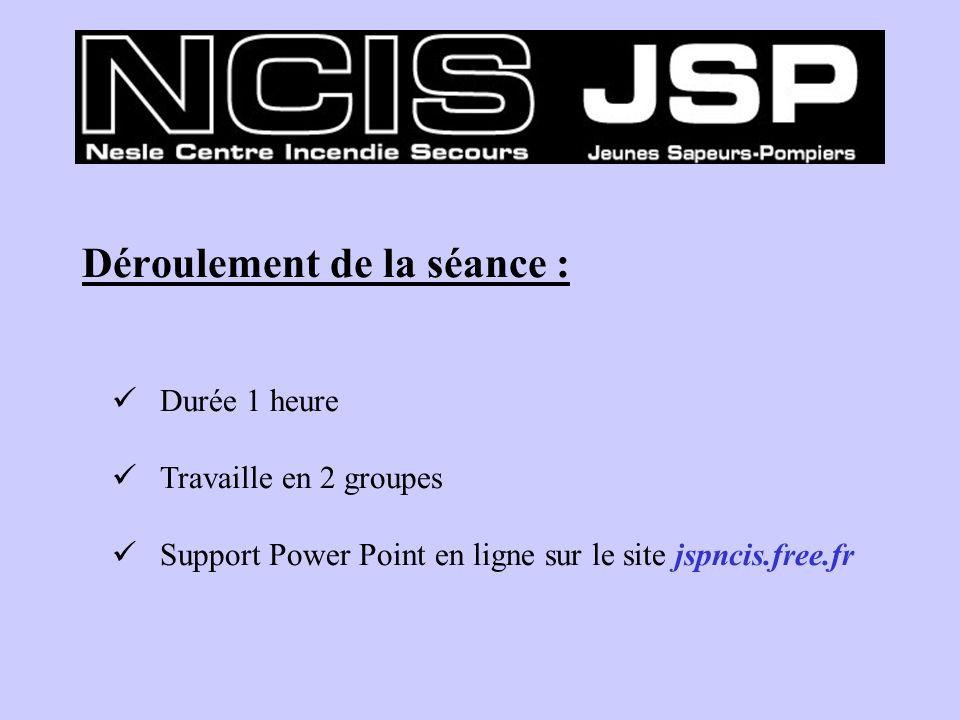 Déroulement de la séance : Durée 1 heure Travaille en 2 groupes Support Power Point en ligne sur le site jspncis.free.fr