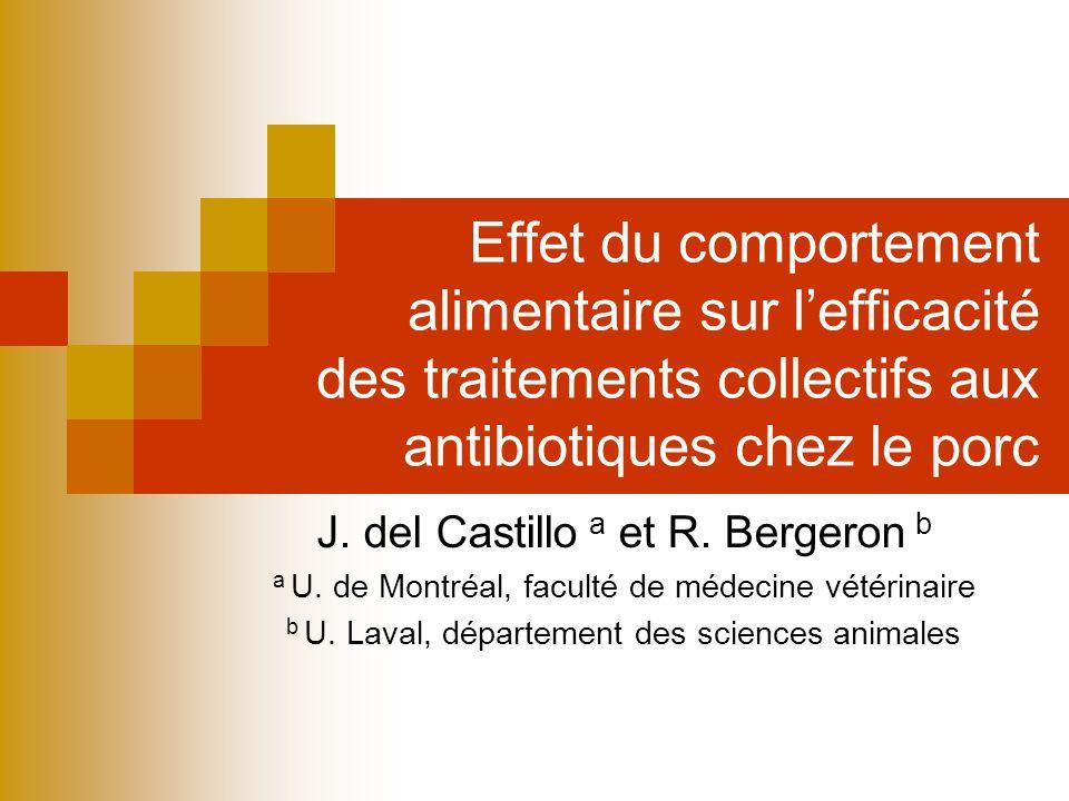 Effet du comportement alimentaire sur lefficacité des traitements collectifs aux antibiotiques chez le porc J. del Castillo a et R. Bergeron b a U. de