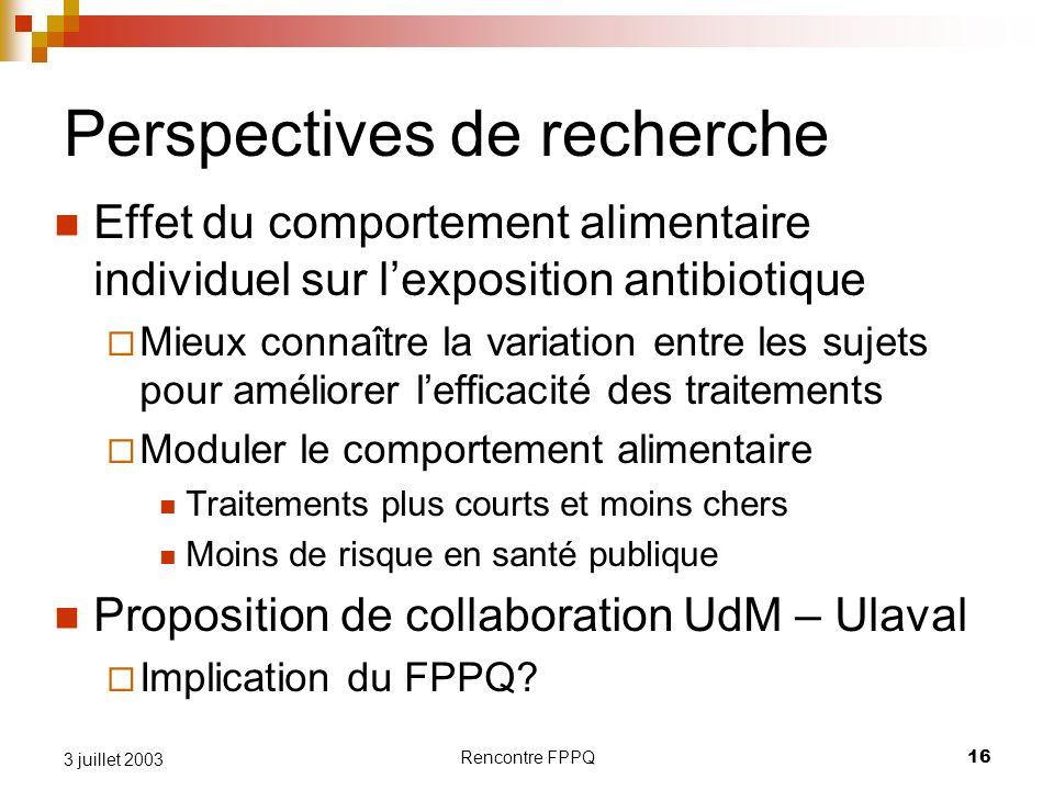Rencontre FPPQ16 3 juillet 2003 Perspectives de recherche Effet du comportement alimentaire individuel sur lexposition antibiotique Mieux connaître la