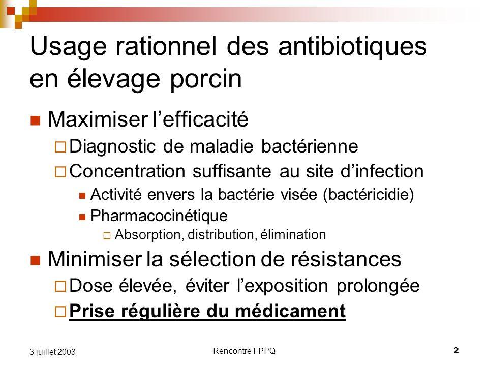 Rencontre FPPQ2 3 juillet 2003 Usage rationnel des antibiotiques en élevage porcin Maximiser lefficacité Diagnostic de maladie bactérienne Concentrati