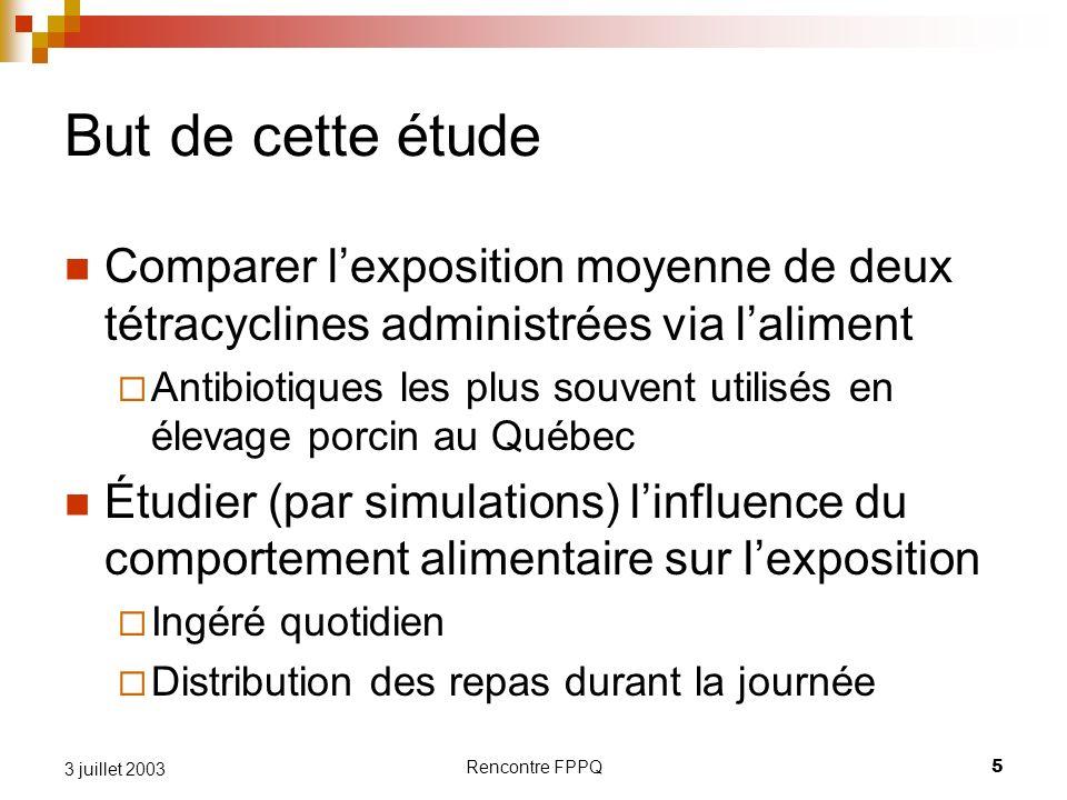Rencontre FPPQ5 3 juillet 2003 But de cette étude Comparer lexposition moyenne de deux tétracyclines administrées via laliment Antibiotiques les plus
