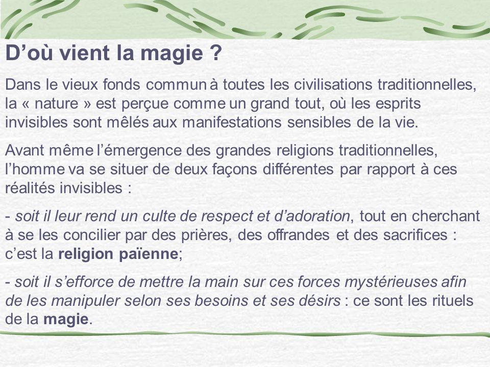Doù vient la magie ? Dans le vieux fonds commun à toutes les civilisations traditionnelles, la « nature » est perçue comme un grand tout, où les espri