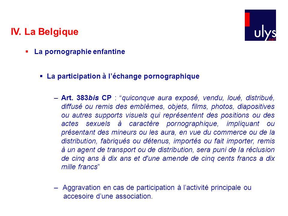 IV. La Belgique La pornographie enfantine La participation à léchange pornographique –Art. 383bis CP : quiconque aura exposé, vendu, loué, distribué,