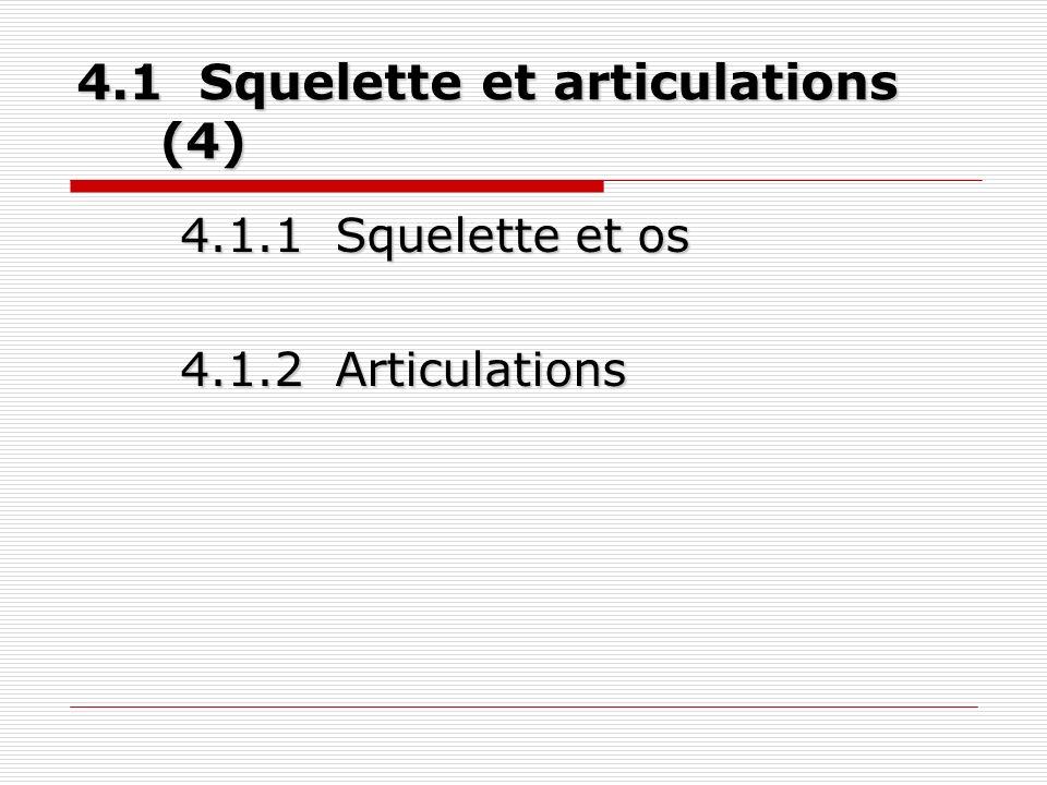 4.1 Squelette et articulations (4) 4.1.1 Squelette et os 4.1.2 Articulations