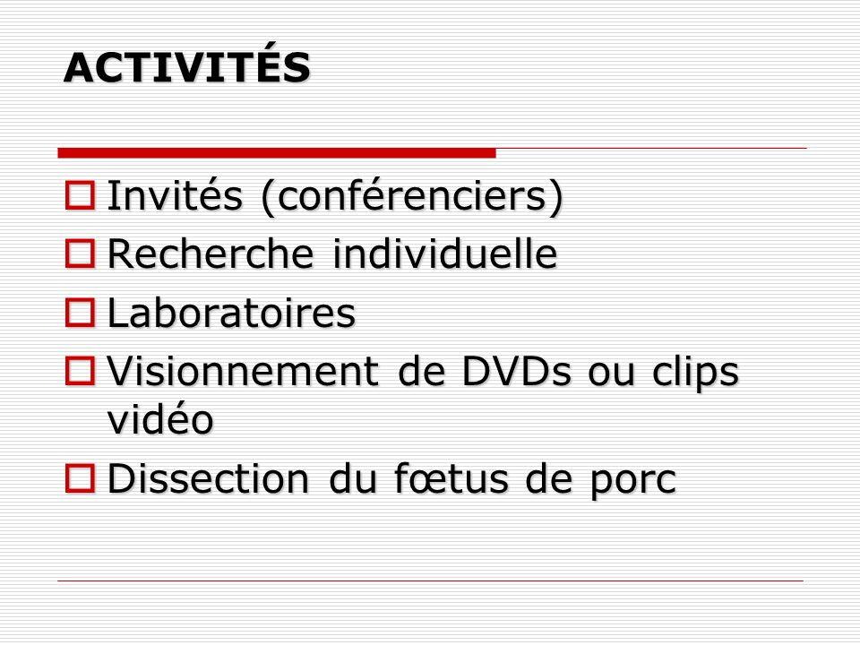 ACTIVITÉS Invités (conférenciers) Invités (conférenciers) Recherche individuelle Recherche individuelle Laboratoires Laboratoires Visionnement de DVDs ou clips vidéo Visionnement de DVDs ou clips vidéo Dissection du fœtus de porc Dissection du fœtus de porc