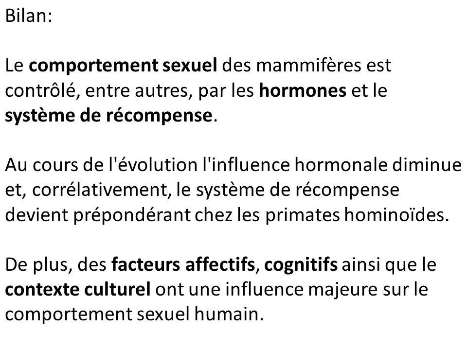 Bilan: Le comportement sexuel des mammifères est contrôlé, entre autres, par les hormones et le système de récompense. Au cours de l'évolution l'influ