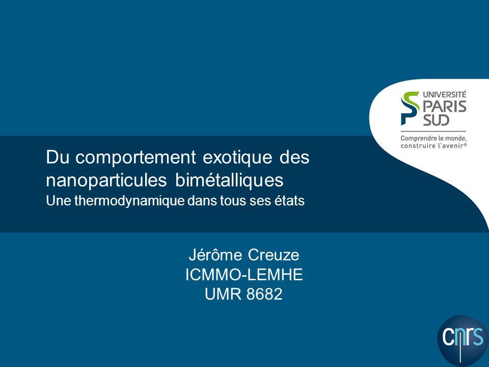 Du comportement exotique des nanoparticules bimétalliques Une thermodynamique dans tous ses états Jérôme Creuze ICMMO-LEMHE UMR 8682