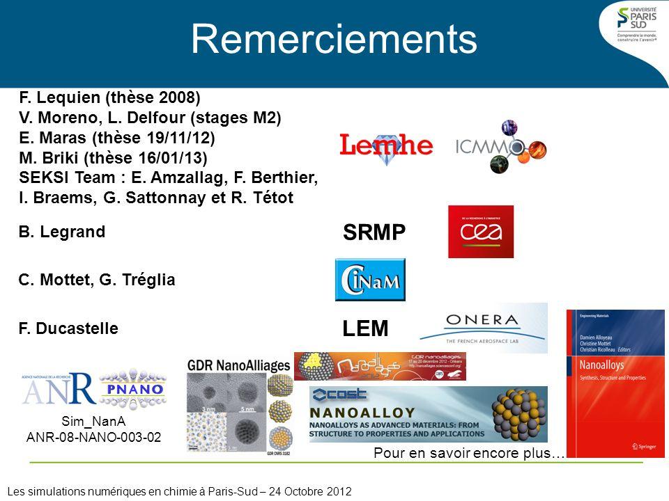 Remerciements C. Mottet, G. Tréglia B. Legrand SRMP F. Ducastelle LEM Sim_NanA ANR-08-NANO-003-02 Pour en savoir encore plus… F. Lequien (thèse 2008)