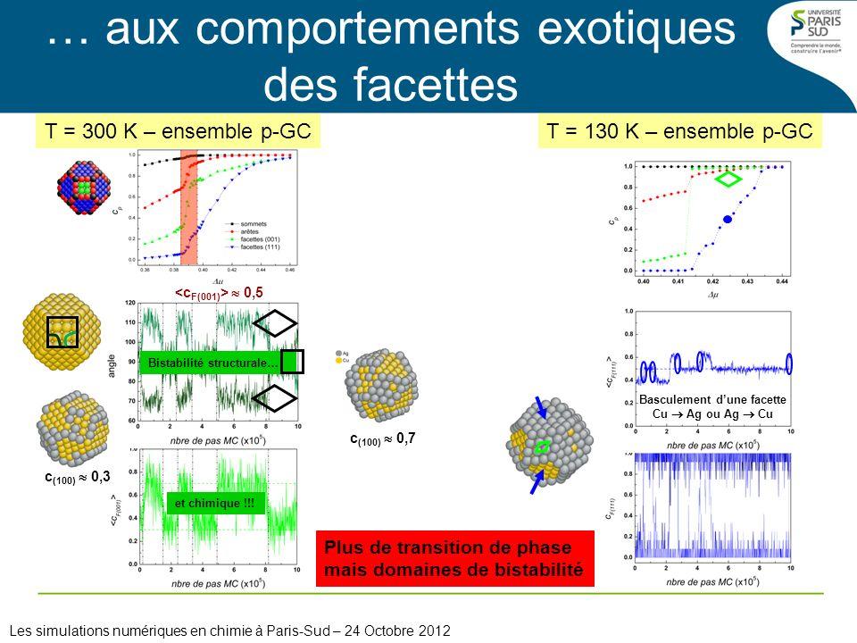 et chimique !!! c (100) 0,7 c (100) 0,3 T = 300 K – ensemble p-GC Bistabilité structurale… 0,5 … aux comportements exotiques des facettes Les simulati
