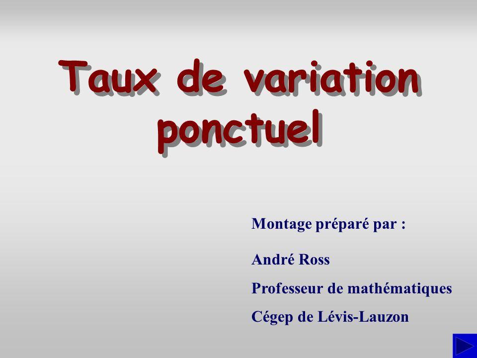 Estimation numérique du taux de variation ponctuel On peut avoir à estimer un taux de variation ponctuel par une procédure numérique à partir de la règle de correspondance définissant la fonction comme nous lavons fait dans les exemples qui précèdent ou à partir de la représentation graphique du lien entre les variables.