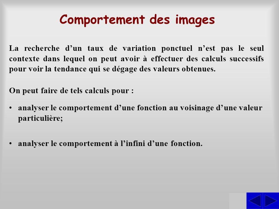 SSS Comportement des images La recherche dun taux de variation ponctuel nest pas le seul contexte dans lequel on peut avoir à effectuer des calculs su