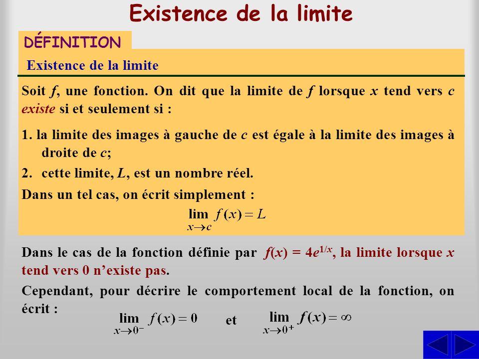 Existence de la limite DÉFINITION Existence de la limite Soit f, une fonction. On dit que la limite de f lorsque x tend vers c existe si et seulement