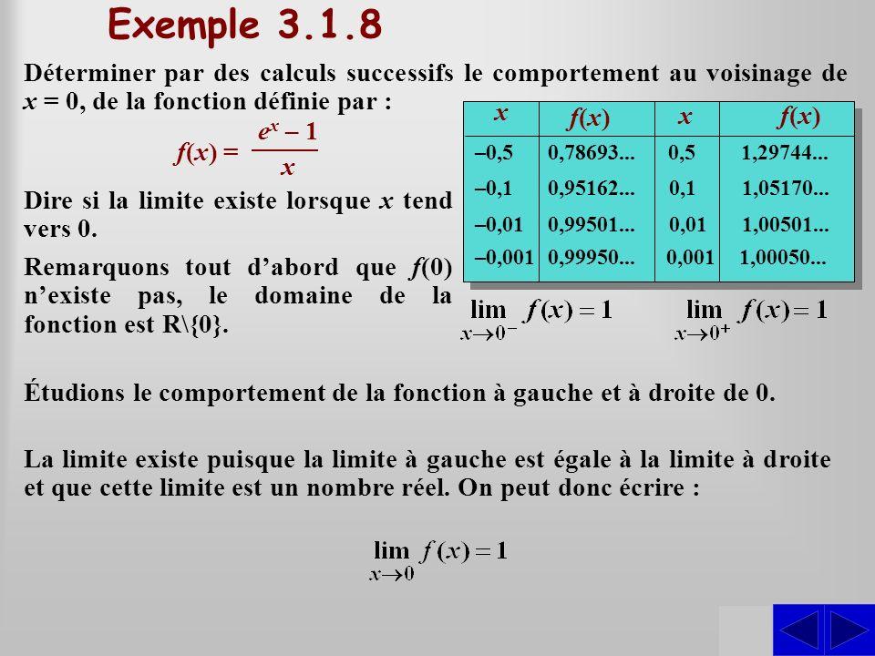 SS Exemple 3.1.8 Déterminer par des calculs successifs le comportement au voisinage de x = 0, de la fonction définie par : f(x) = x f(x)f(x) xf(x)f(x)