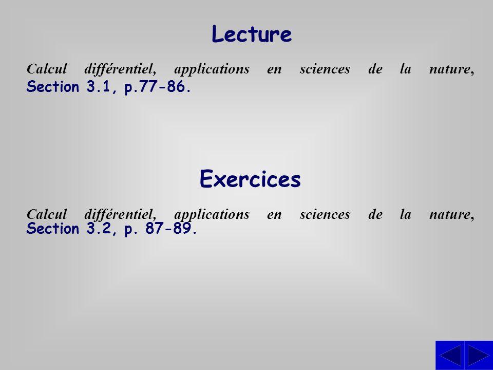 Lecture Calcul différentiel, applications en sciences de la nature, Section 3.1, p.77-86. Exercices Calcul différentiel, applications en sciences de l