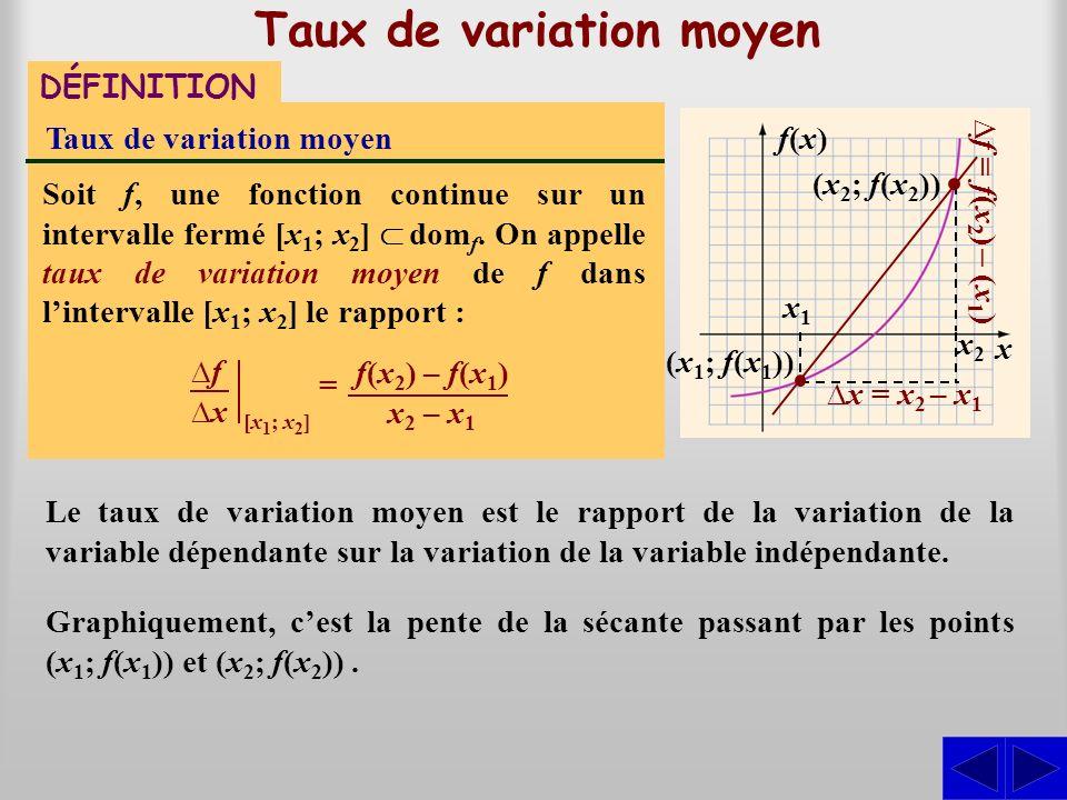 Taux de variation moyen DÉFINITION Taux de variation moyen Soit f, une fonction continue sur un intervalle fermé [x 1 ; x 2 ] dom f. On appelle taux d