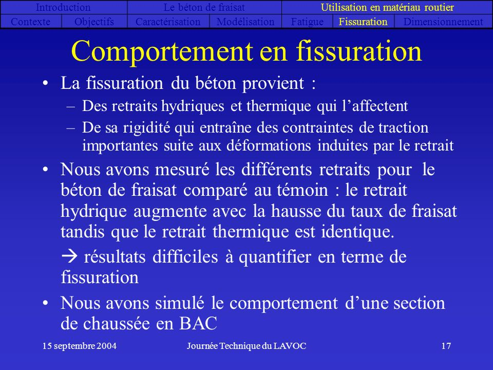 15 septembre 2004Journée Technique du LAVOC17 Comportement en fissuration La fissuration du béton provient : –Des retraits hydriques et thermique qui