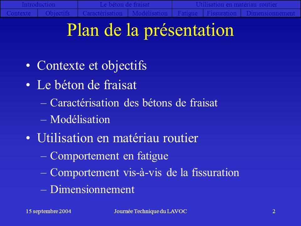 15 septembre 2004Journée Technique du LAVOC2 Plan de la présentation Contexte et objectifs Le béton de fraisat –Caractérisation des bétons de fraisat