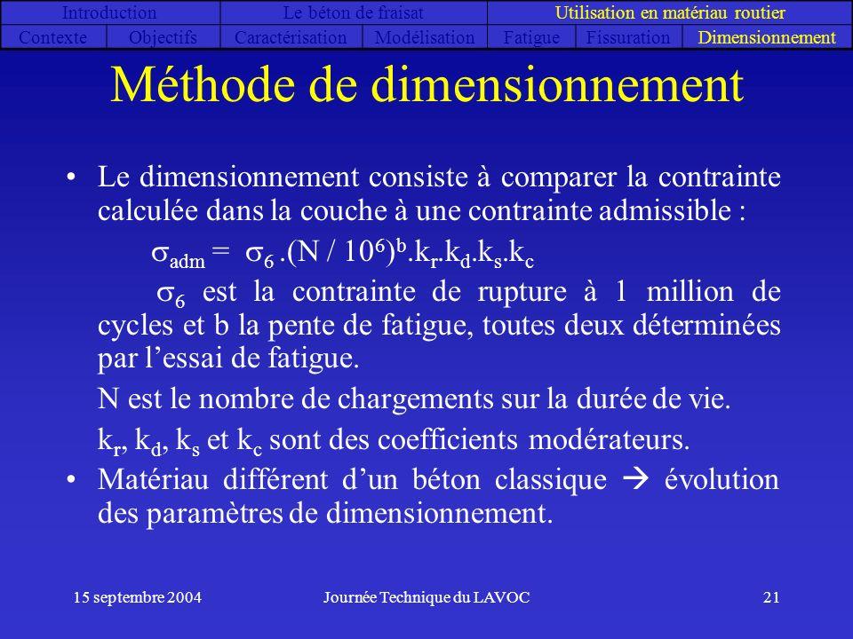 15 septembre 2004Journée Technique du LAVOC21 Méthode de dimensionnement Le dimensionnement consiste à comparer la contrainte calculée dans la couche