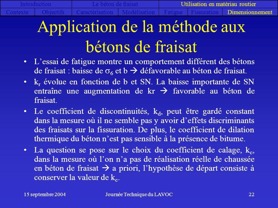 15 septembre 2004Journée Technique du LAVOC22 Application de la méthode aux bétons de fraisat Lessai de fatigue montre un comportement différent des b