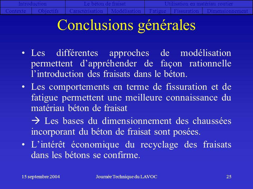 15 septembre 2004Journée Technique du LAVOC25 Conclusions générales Les différentes approches de modélisation permettent dappréhender de façon rationn