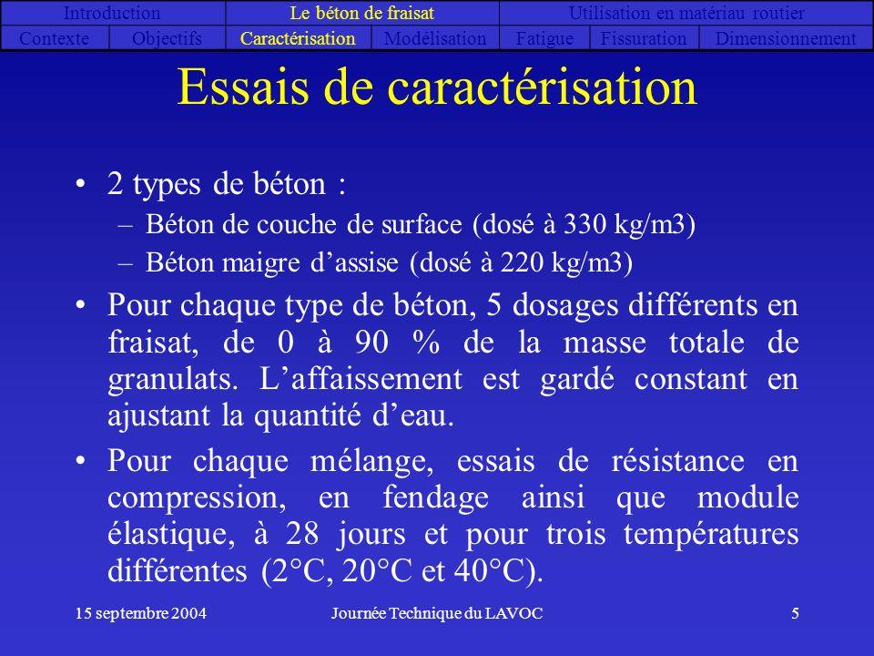 15 septembre 2004Journée Technique du LAVOC5 Essais de caractérisation 2 types de béton : –Béton de couche de surface (dosé à 330 kg/m3) –Béton maigre