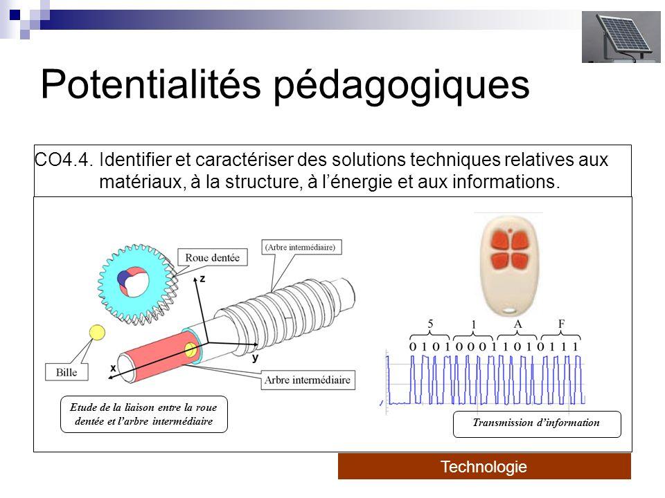 Potentialités pédagogiques CO4.4. Identifier et caractériser des solutions techniques relatives aux matériaux, à la structure, à lénergie et aux infor