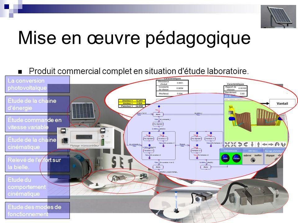Mise en œuvre pédagogique Produit commercial complet en situation d étude laboratoire.