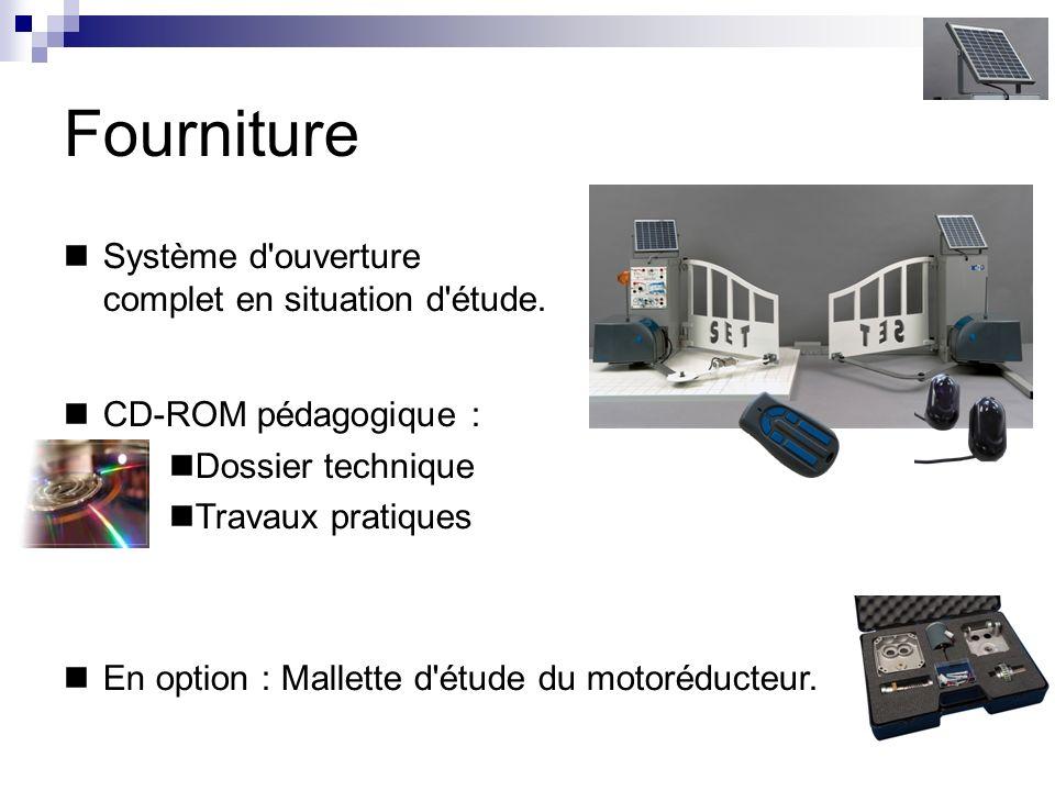 CD-ROM pédagogique : Dossier technique Travaux pratiques Fourniture Système d'ouverture complet en situation d'étude. En option : Mallette d'étude du