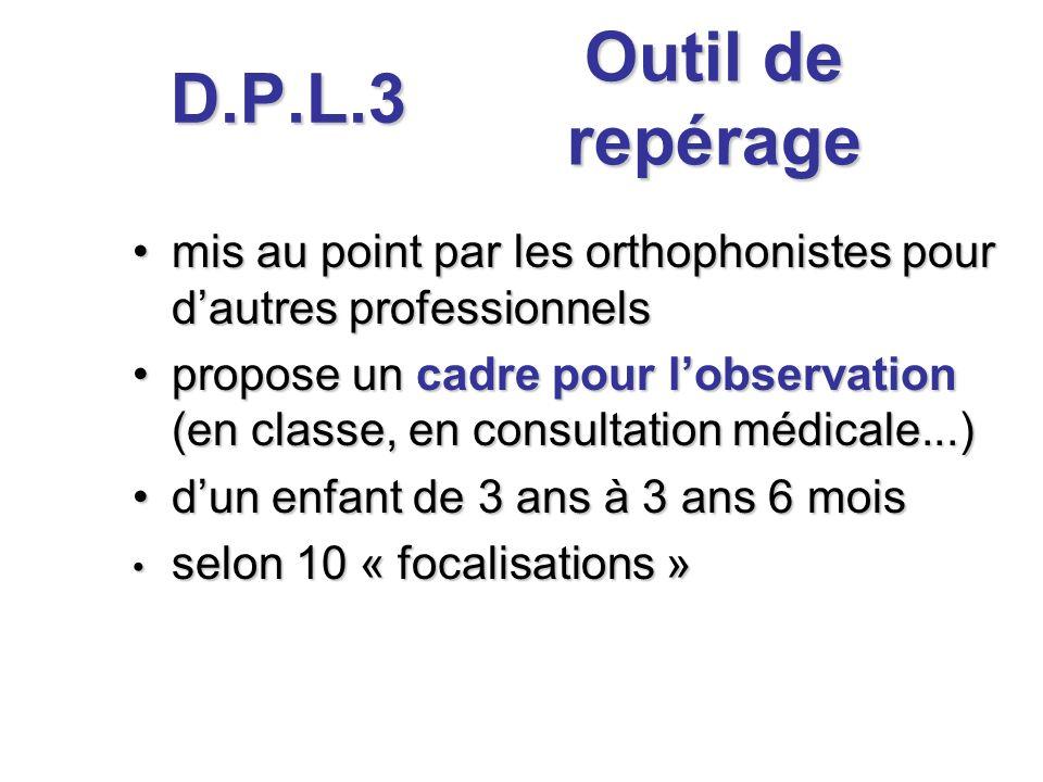 D.P.L.3 mis au point par les orthophonistes pour dautres professionnelsmis au point par les orthophonistes pour dautres professionnels propose un cadr