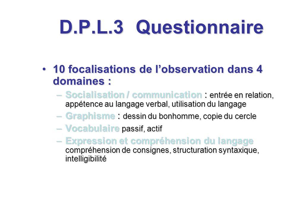 D.P.L.3 10 focalisations de lobservation dans 4 domaines :10 focalisations de lobservation dans 4 domaines : –Socialisation / communication : entrée e