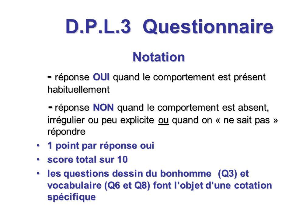 D.P.L.3 Notation - réponse OUI quand le comportement est présent habituellement - réponse OUI quand le comportement est présent habituellement - répon