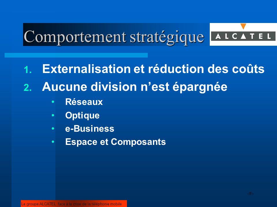 13 Comportement stratégique 1. Externalisation et réduction des coûts 2. Aucune division nest épargnée Réseaux Optique e-Business Espace et Composants
