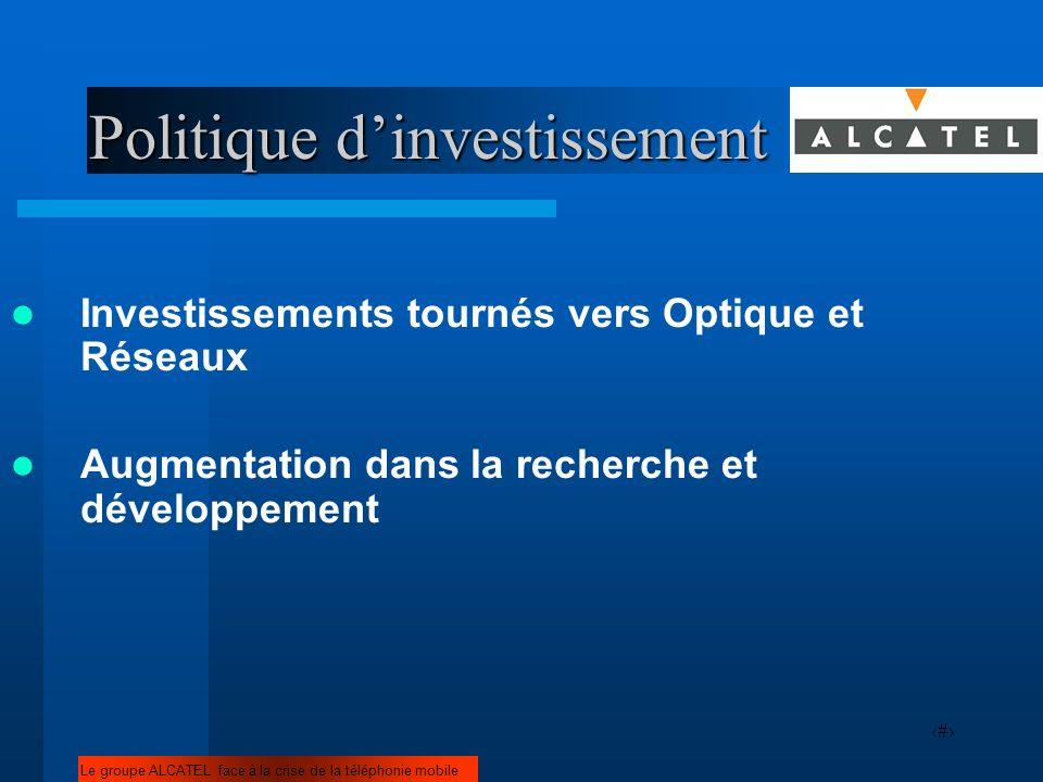 15 Politique dinvestissement Investissements tournés vers Optique et Réseaux Augmentation dans la recherche et développement Le groupe ALCATEL face à