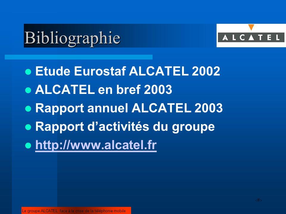 18Bibliographie Etude Eurostaf ALCATEL 2002 ALCATEL en bref 2003 Rapport annuel ALCATEL 2003 Rapport dactivités du groupe http://www.alcatel.fr Le gro