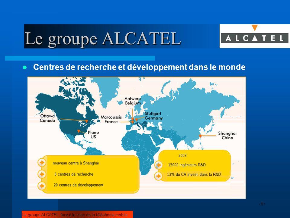 5 Centres de recherche et développement dans le monde Le groupe ALCATEL face à la crise de la téléphonie mobile Le groupe ALCATEL