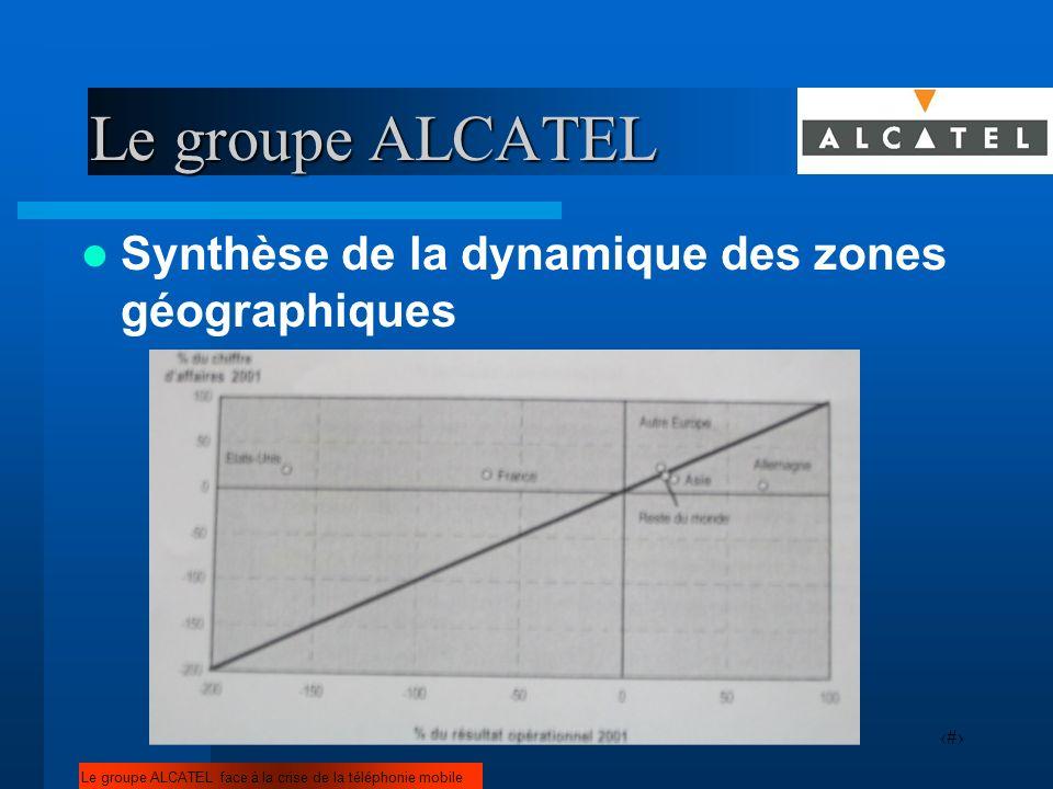 7 Synthèse de la dynamique des zones géographiques Le groupe ALCATEL face à la crise de la téléphonie mobile Le groupe ALCATEL