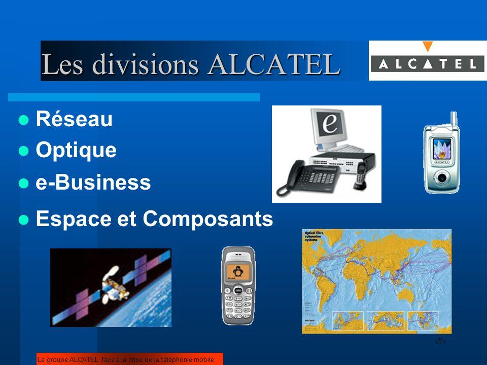 8 Les divisions ALCATEL Réseau Le groupe ALCATEL face à la crise de la téléphonie mobile Optique e-Business Espace et Composants