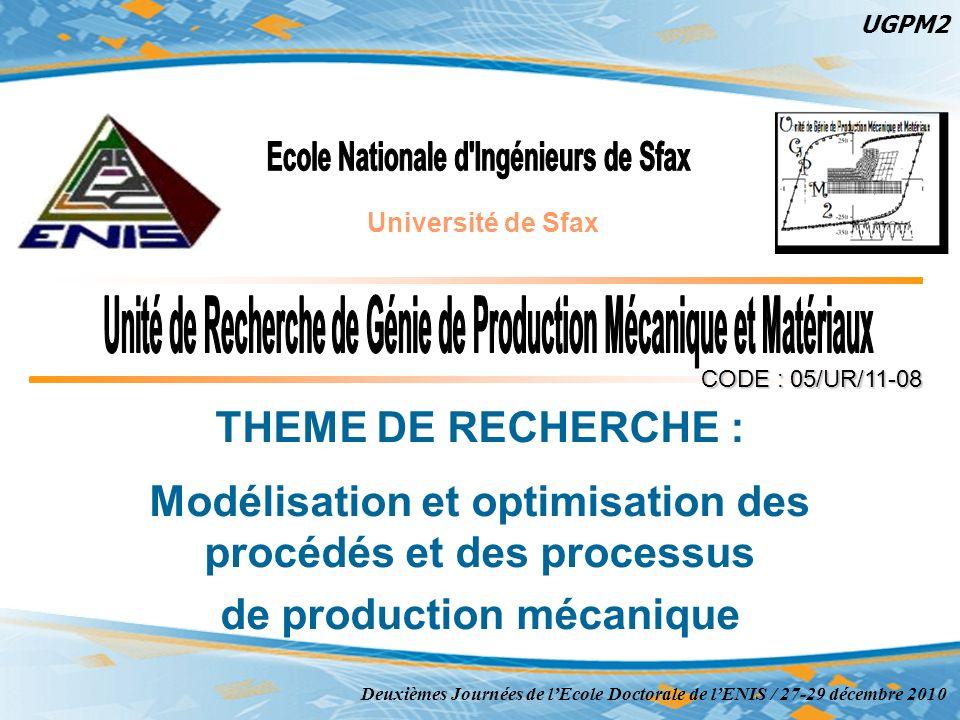 1 CODE : 05/UR/11-08 THEME DE RECHERCHE : Modélisation et optimisation des procédés et des processus de production mécanique Deuxièmes Journées de lEc