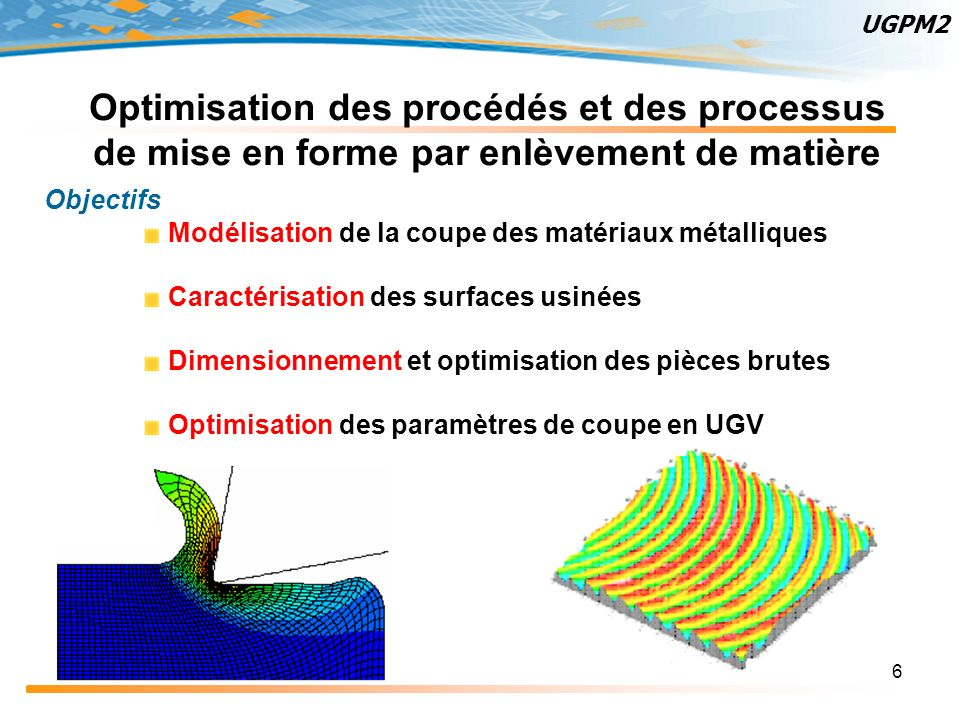 6 Optimisation des procédés et des processus de mise en forme par enlèvement de matière Objectifs Modélisation de la coupe des matériaux métalliques C