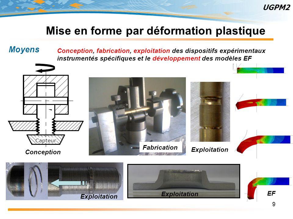 9 Mise en forme par déformation plastique Moyens Conception, fabrication, exploitation des dispositifs expérimentaux instrumentés spécifiques et le dé