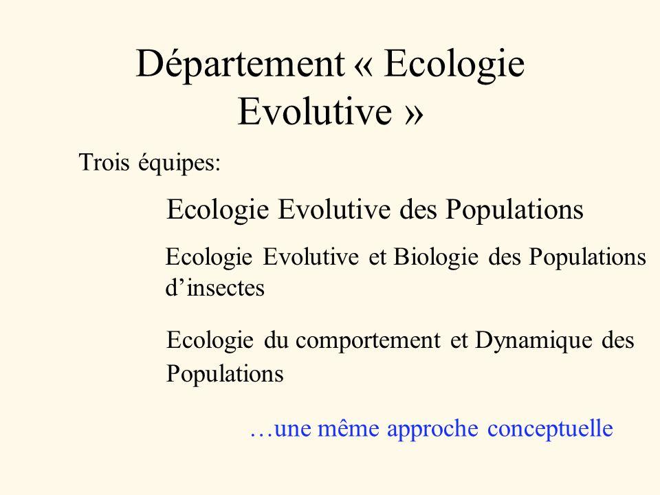Département « Ecologie Evolutive » Trois équipes: Ecologie Evolutive des Populations Ecologie Evolutive et Biologie des Populations dinsectes Ecologie