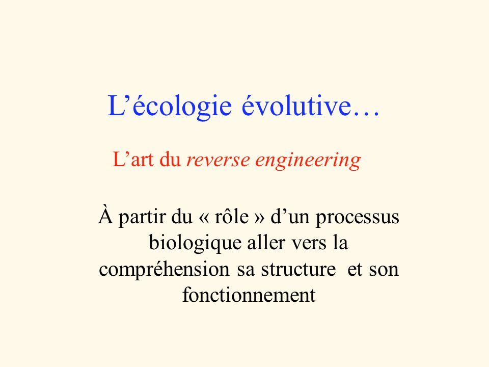 Lécologie évolutive… Lart du reverse engineering À partir du « rôle » dun processus biologique aller vers la compréhension sa structure et son fonctio