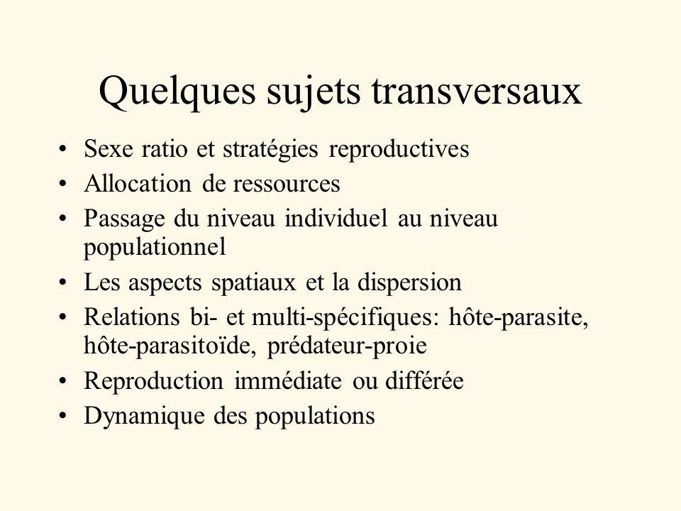 Quelques sujets transversaux Sexe ratio et stratégies reproductives Allocation de ressources Passage du niveau individuel au niveau populationnel Les
